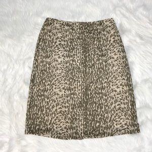 J. Crew animal print silk straight skirt Sz 10